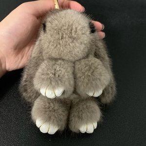 Mink fur rabbit shape keychain